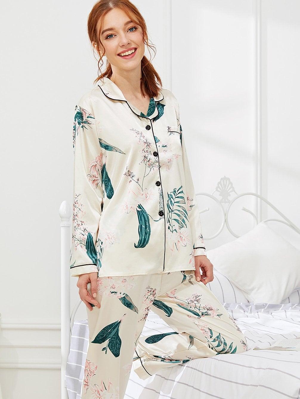 Купить Контрастная привязка Цветочная печать Pajama Set, Poly, SheIn