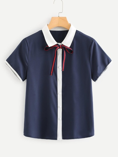 Contrast Trim Tie Neck Shirt