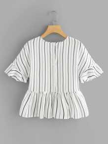 Fluted Sleeve Ruffle Hem Striped Top