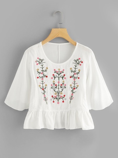 Floral Embroidered Ruffle Hem Top