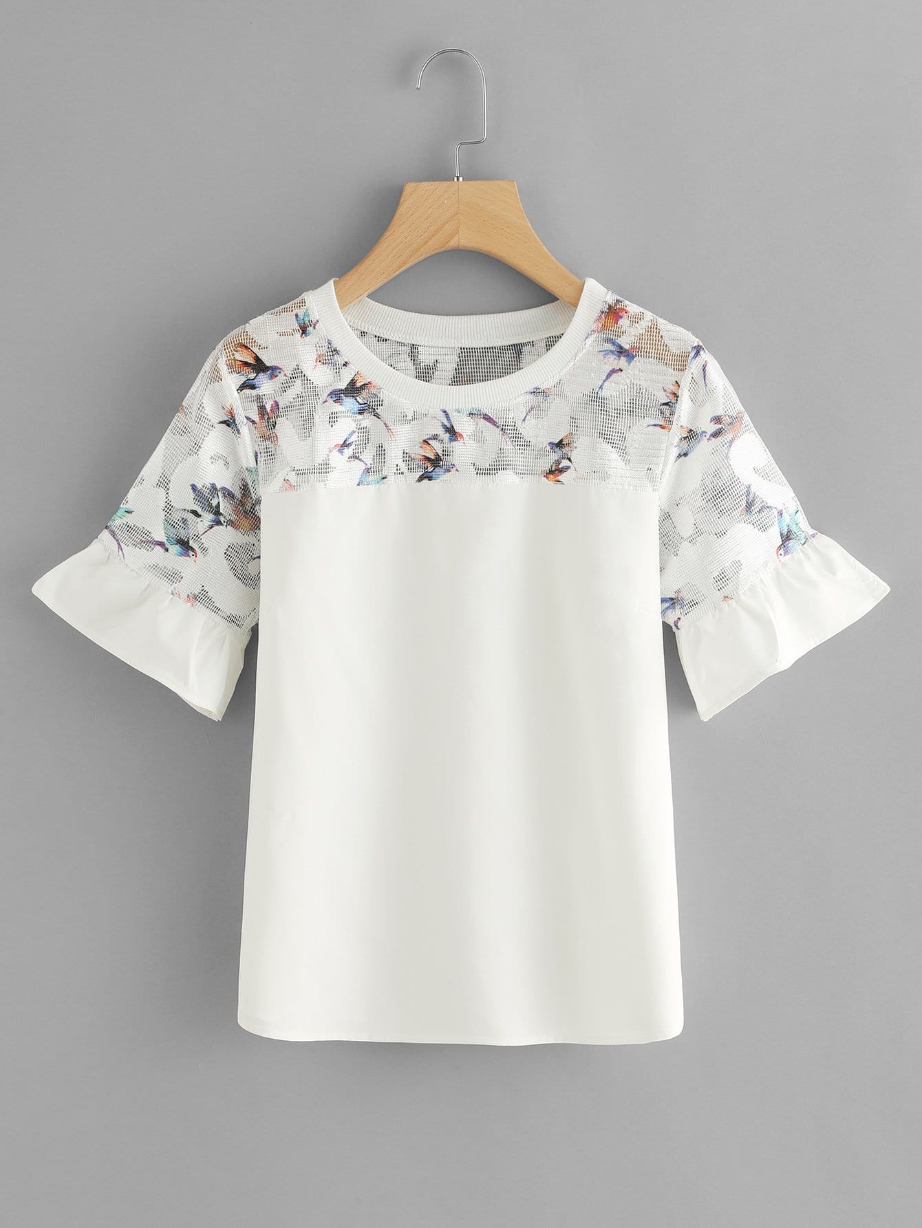 Bird Print Fluted Sleeve Top double v neck fluted sleeve jumper