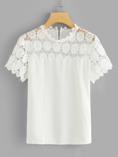 Lace Panel Keyhole Back Top