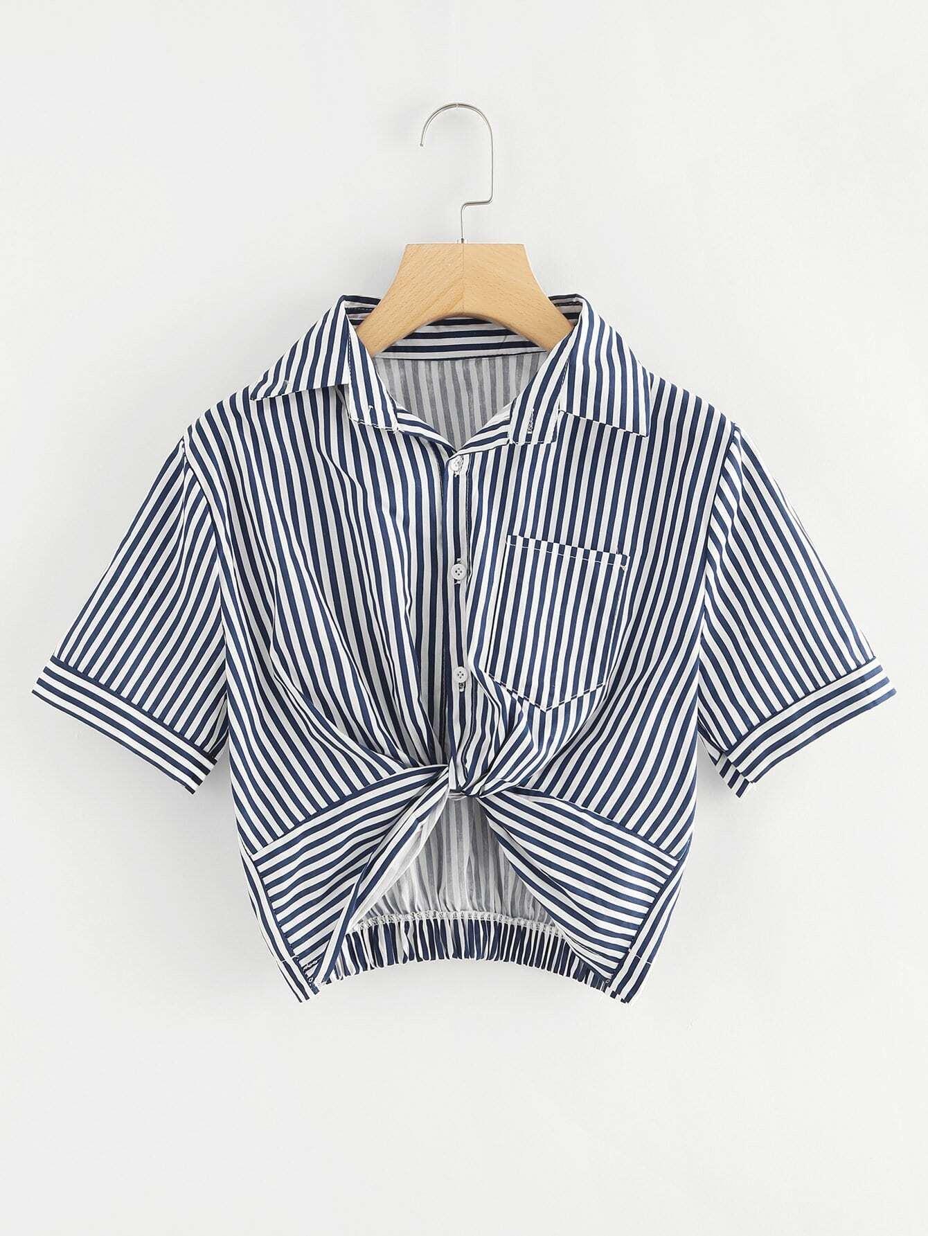 Twist Front Striped Crop Blouse button front striped blouse
