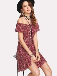 Off Shoulder Calico Print Dress