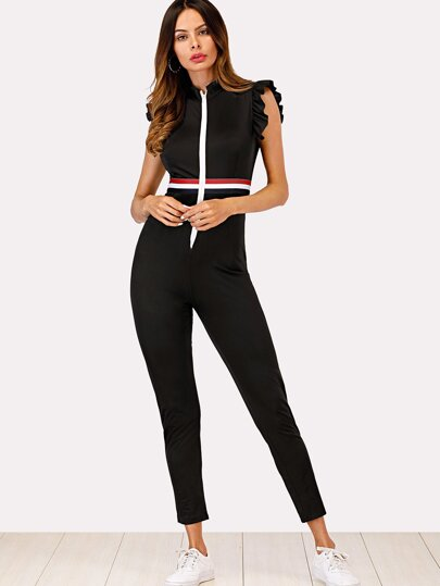 Ruffle Sleeve Striped Zip Up Jumpsuit