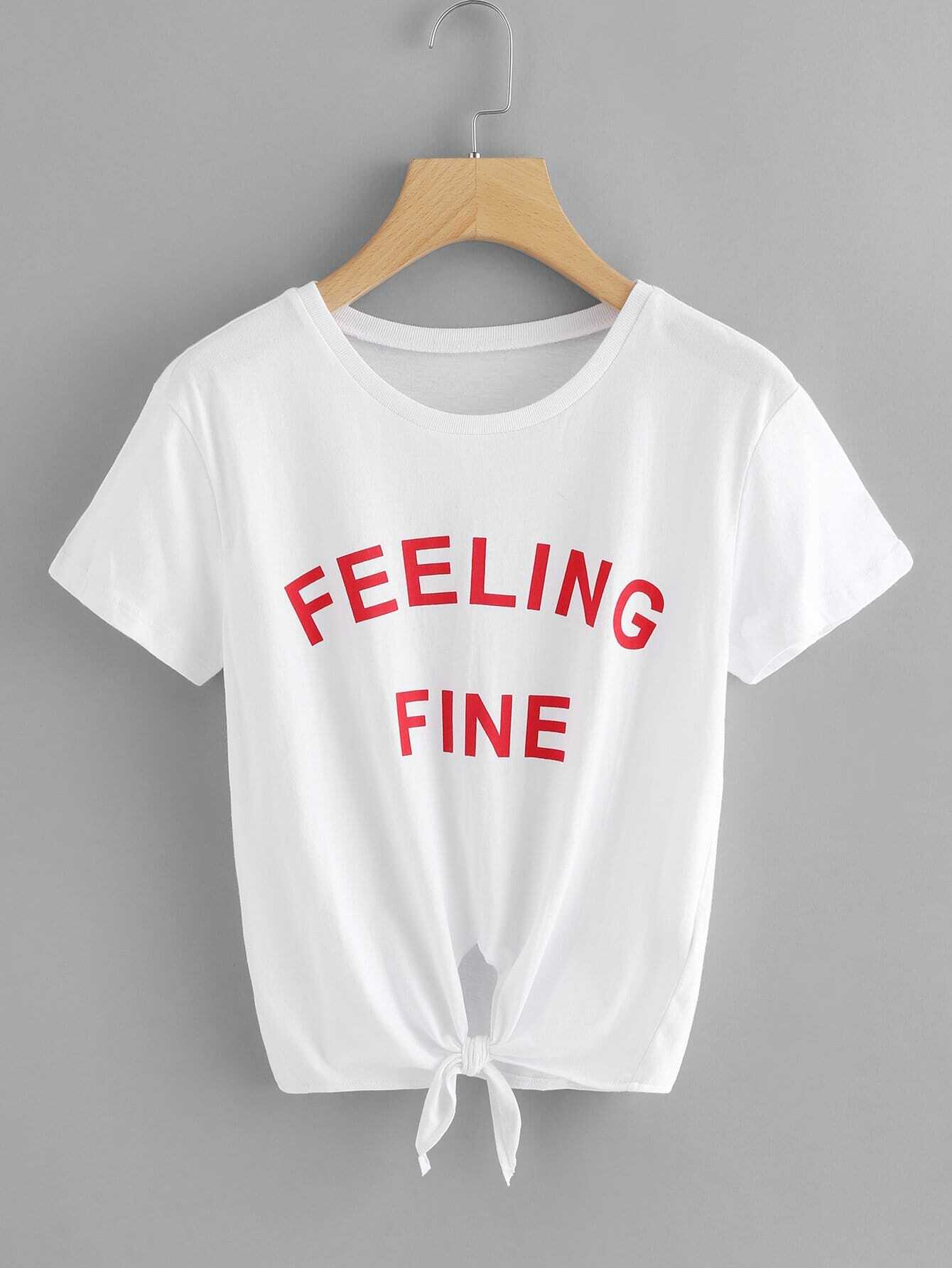 Slogan Print Knot Front Tee knot front tee