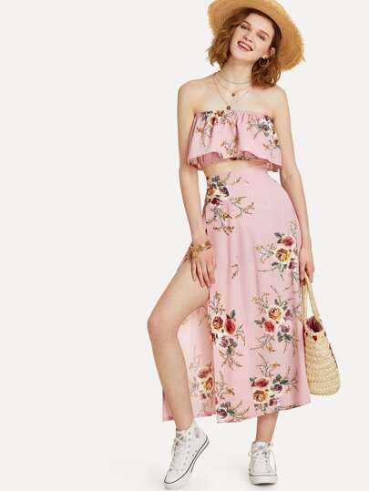 Floral Print Tube Top With Split Skirt