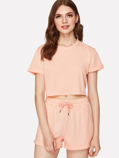 Roll Up Sleeve Crop Tee With Shorts