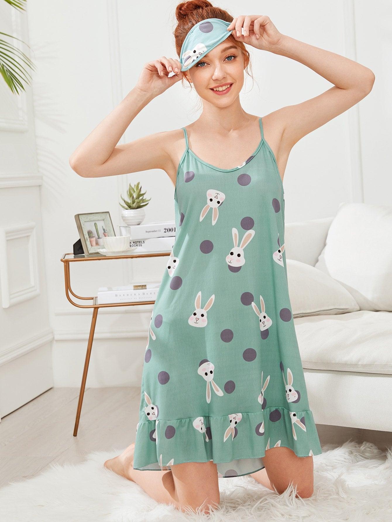 Rabbit Print Cami Dress With Eye Mask rabbit print pullover