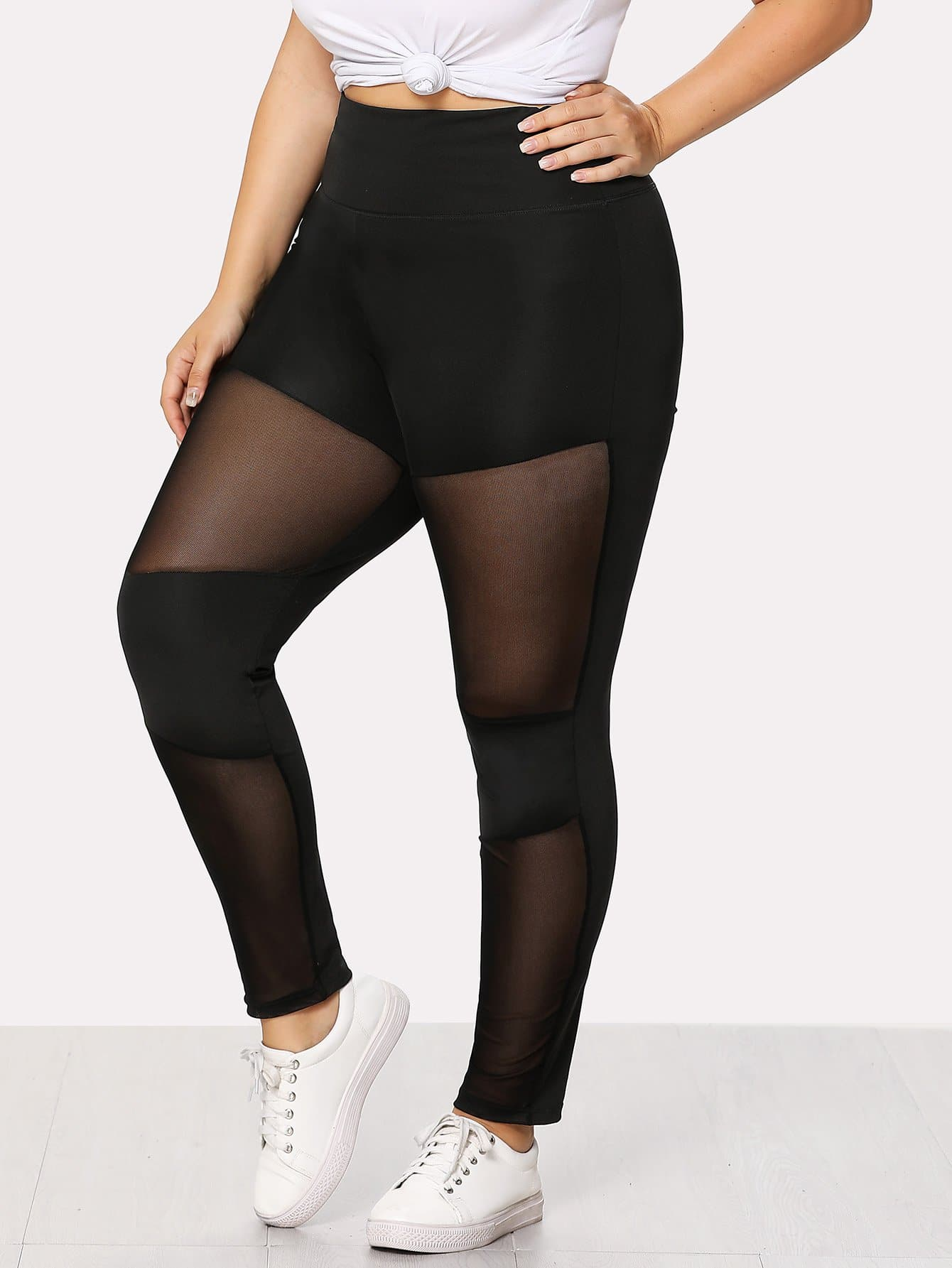Sheer Mesh Panel Skinny Leggings sheer plus size mesh panel workout leggings