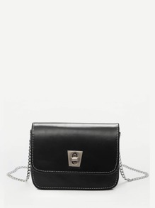 Twist Lock Flap Chain Crossbody Bag