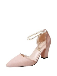Scalloped Faux Pearl Decor Heels