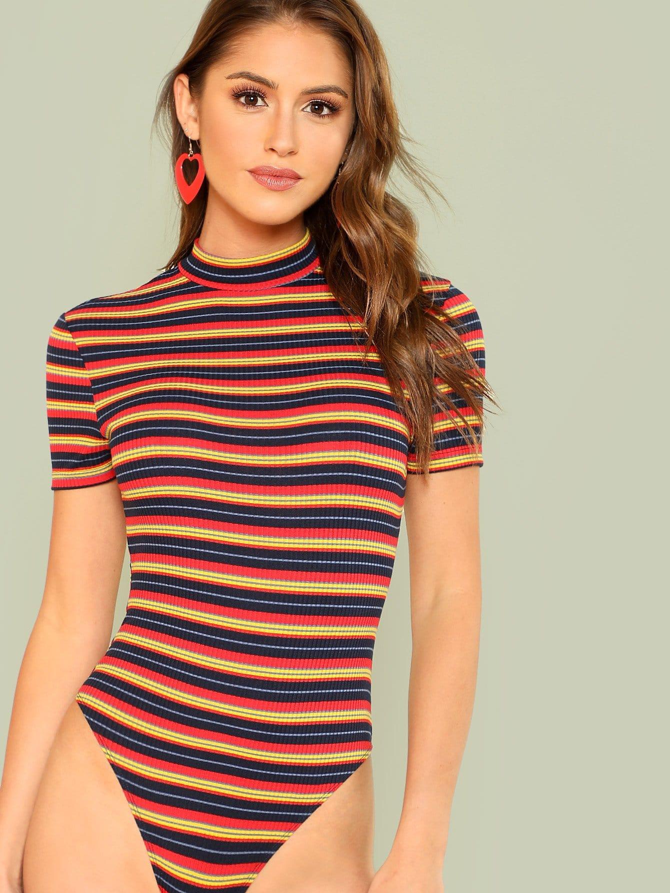 Open Back Rib Knit Striped Bodysuit ruffle trim rib knit strapless bodysuit
