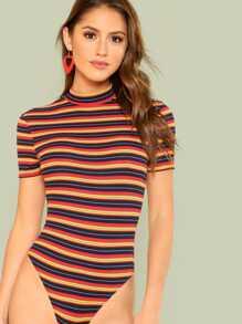 Open Back Rib Knit Striped Bodysuit