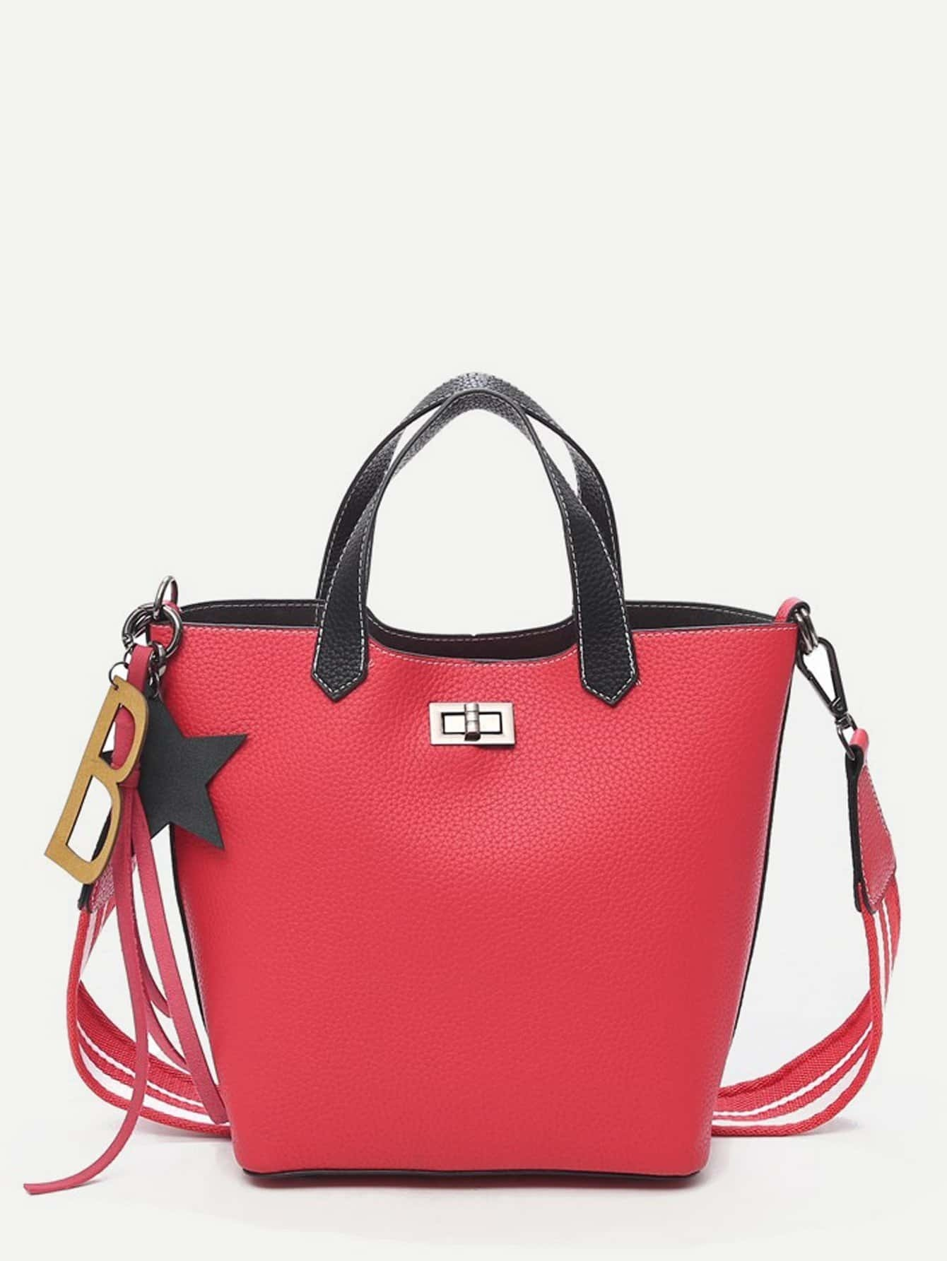 Pebble Embossed Combination Bag With Clutch patch detail combination bag with clutch bag