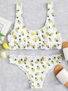 Pineapple Print Wide Strap Top With Frill Trim Bikini Set