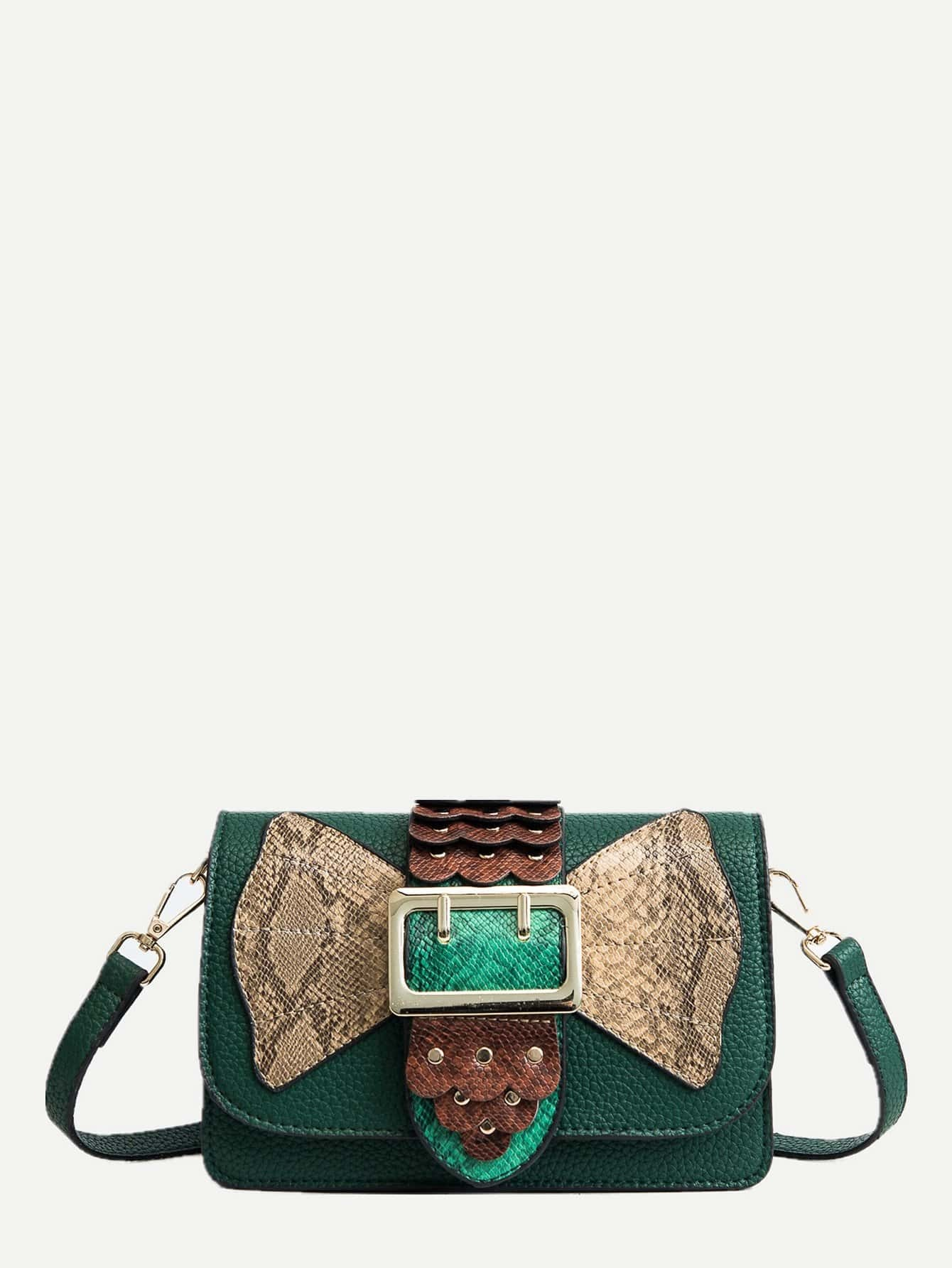 Scalloped Buckle Decor Shoulder Bag жилет мужской baon цвет зеленый b658201 moss размер xxl 54