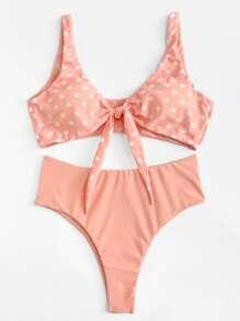 Knot Front Polka Dot Bikini Set