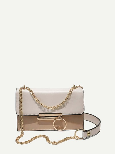 Two Tone Flap Chain Bag