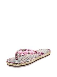 Floral Embellished Flip Flops