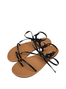 Tie Up PU Flat Sandals