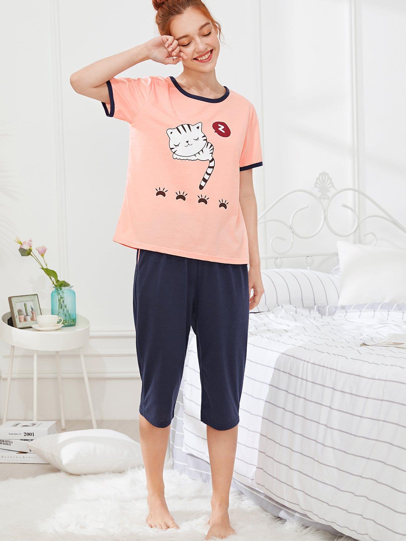 Cat Print Tee & Pants PJ Set exmork 100 вт 12 в poly si