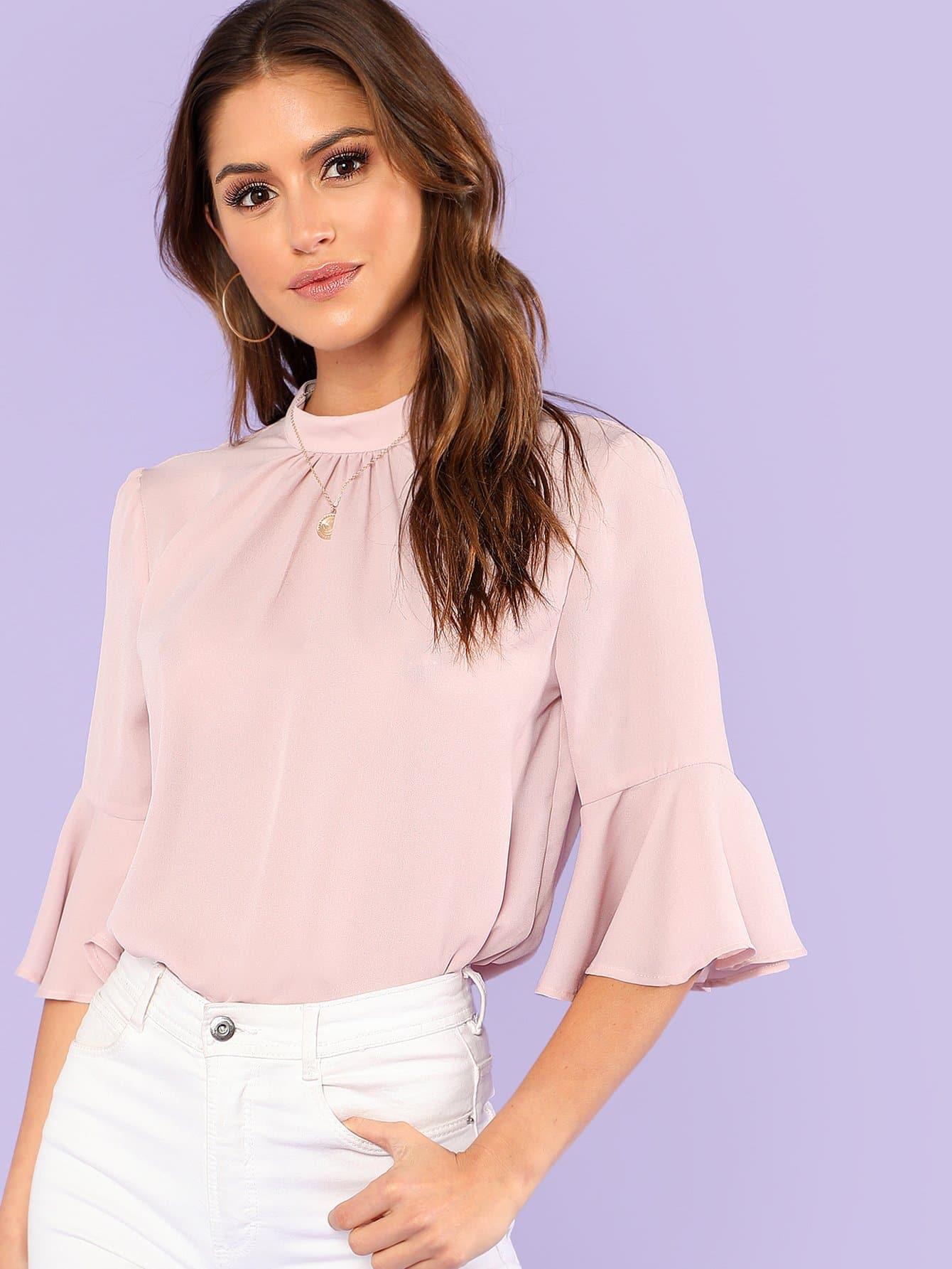 Купить Стильная блузка с дизайнерским рукавом, Gigi Paris, SheIn