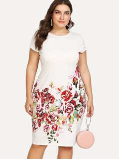 Plus Floral Print Pencil Dress