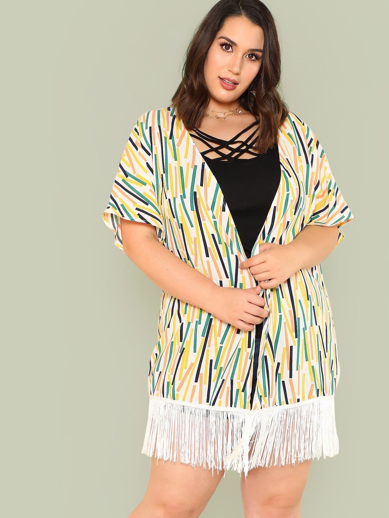 Plus Open Front Striped Fringe Hem Kimono florals fringe hem kimono