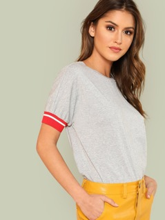 Striped Cuff Dolman Sleeve Tee