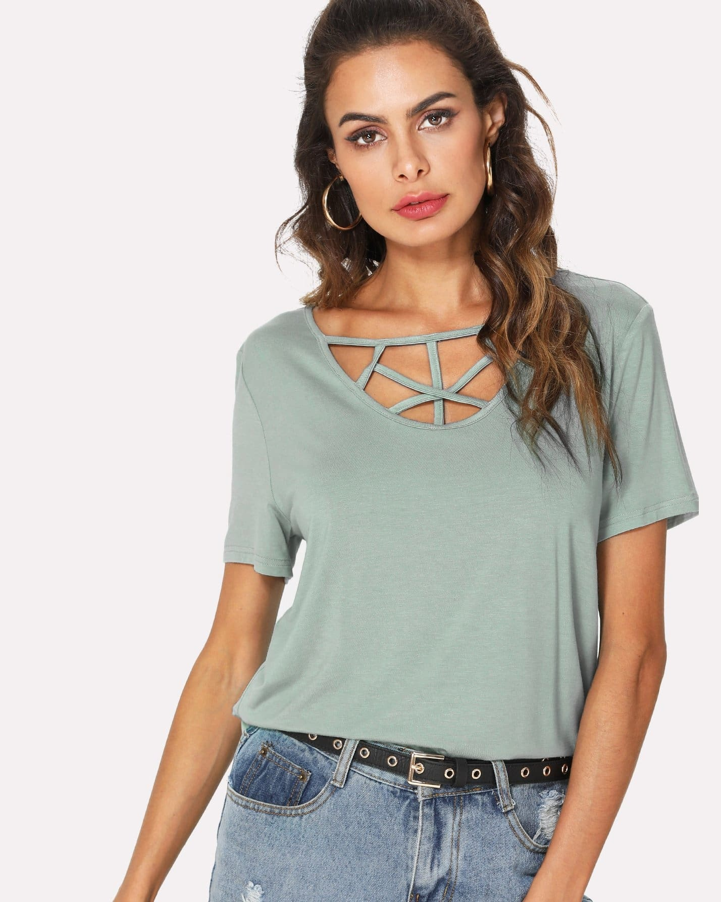 Caged Neck Solid Tee caged neck solid dress