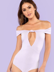 Knot Front Solid Bodysuit