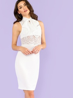 Lace Insert Tied Neck Dress