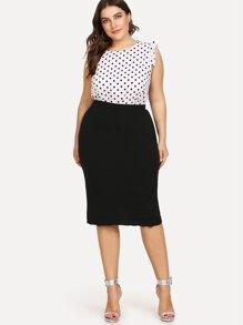 Slit Ruffle Hem Bodycon Skirt