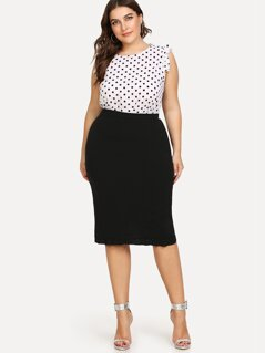 Plus Slit Ruffle Hem Bodycon Skirt