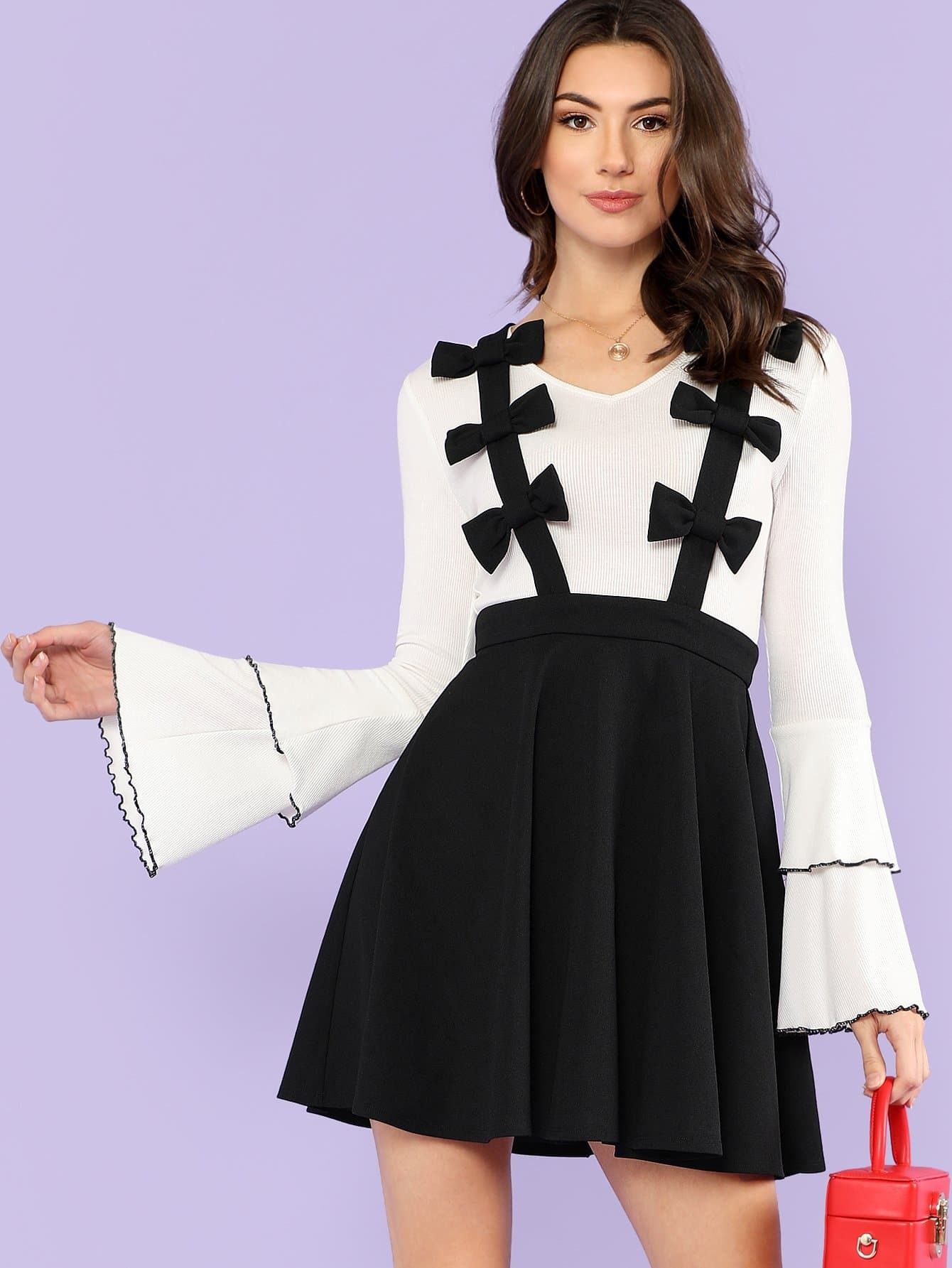 Bow Detail Pinafore Skirt ring detail striped pinafore jumpsuit