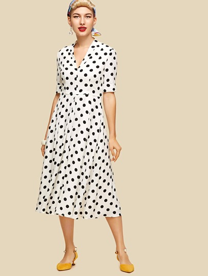 Rolled Sleeve Flare Dot Dress