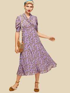 Puff Sleeve Surplice Wrap Dress