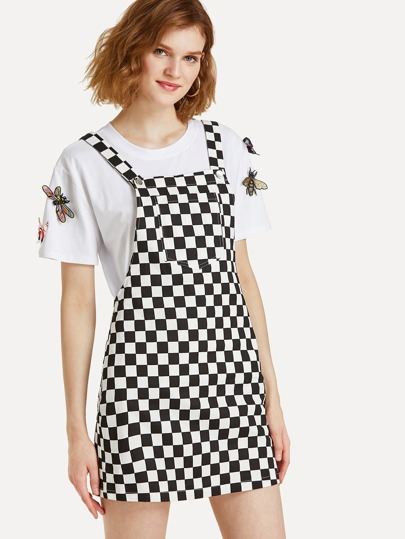 Pocket Front Plaid Pinafore Dress