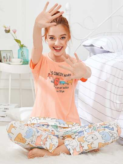 Animal & Letter Print Pajama Set