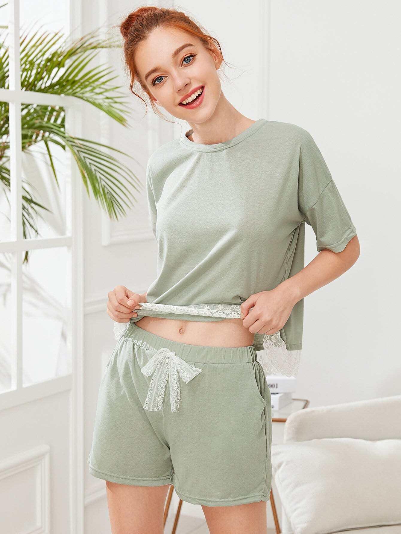 Lace Hem Tee & Shorts PJ Set