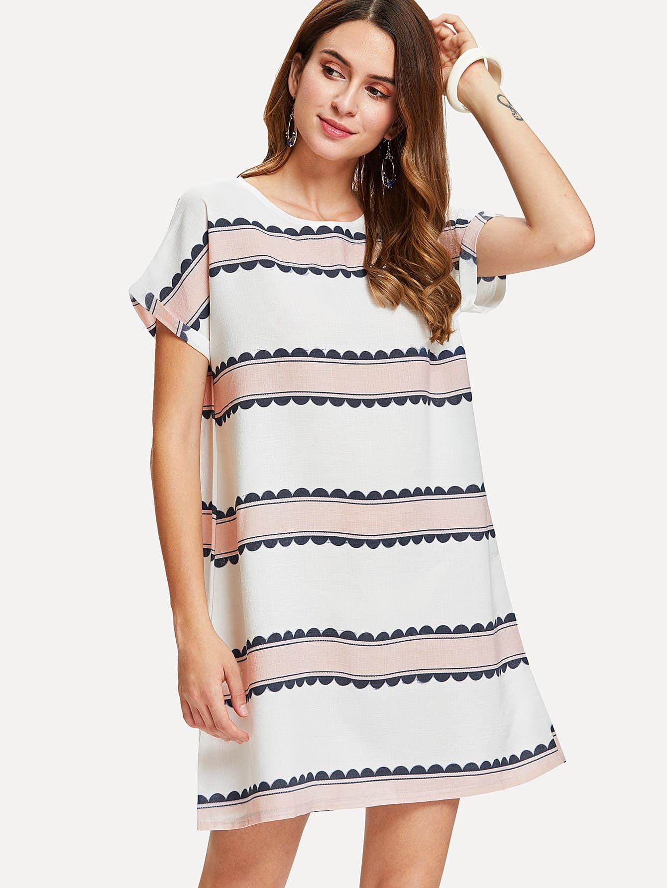 Contrast Striped Dress contrast striped single breasted dress