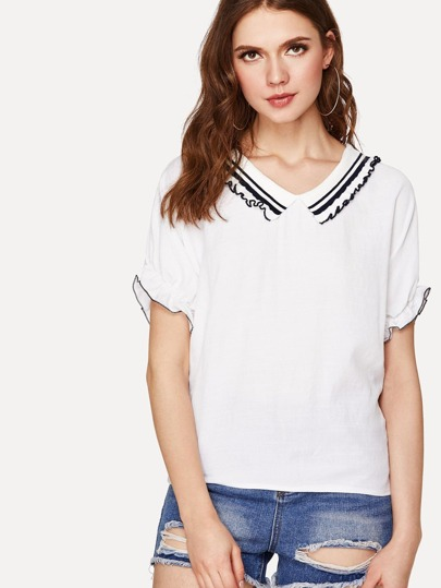 Frilled Striped Collar Top