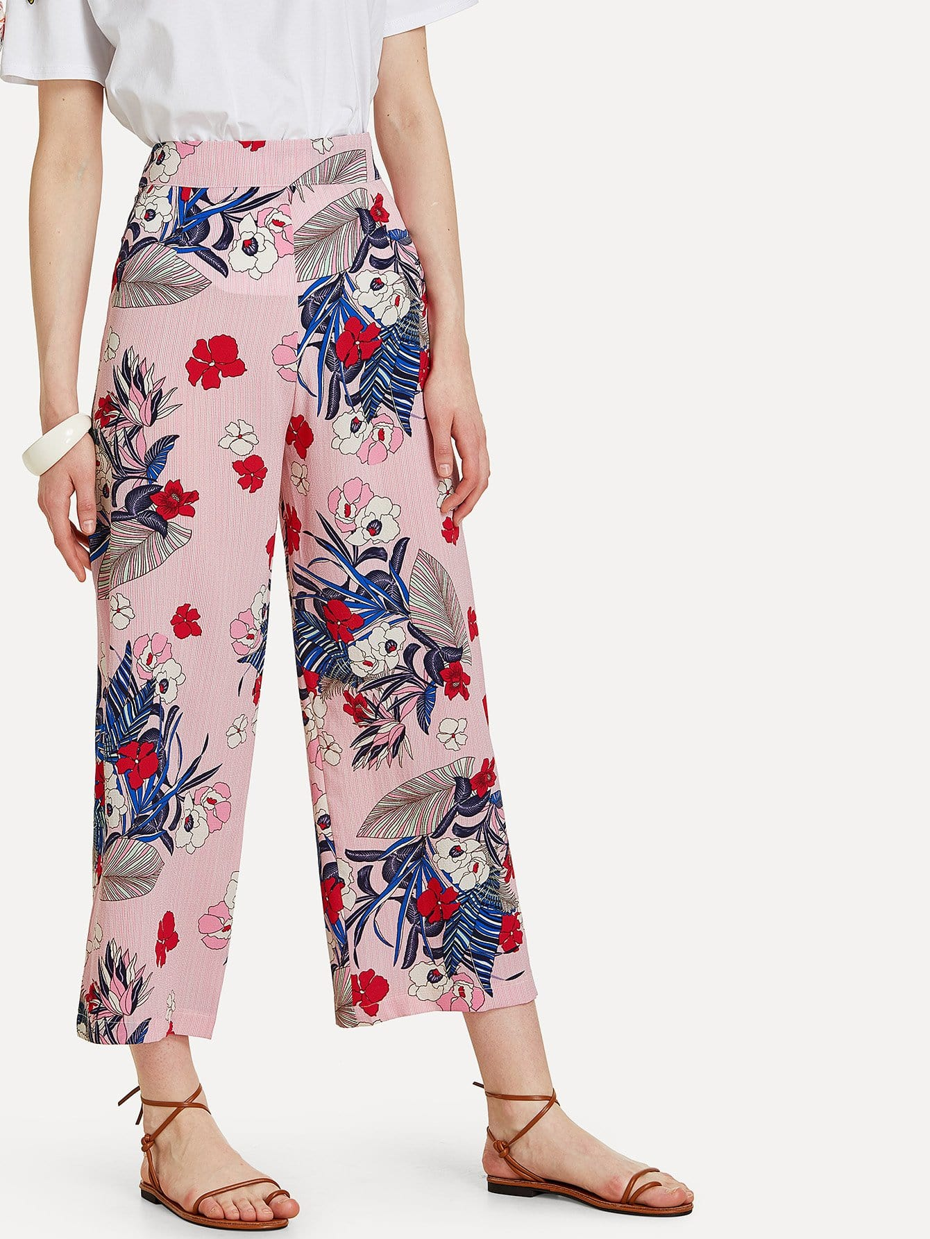 Tropical & Stripe Print Culotte Pants spot culotte pants