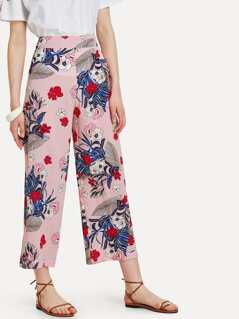 Tropical & Stripe Print Culotte Pants