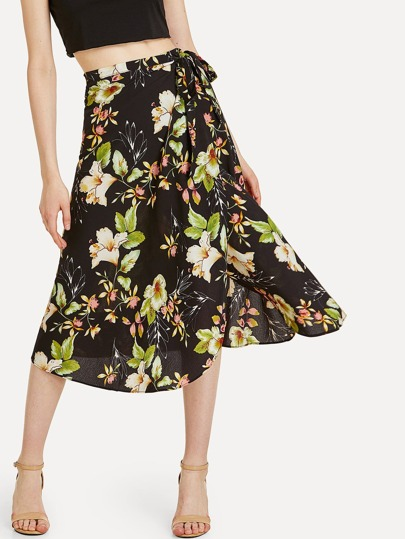 Flower Print Wrap Midi Skirt