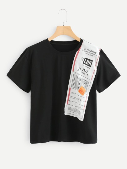 Contrast Tag Patched T-shirt