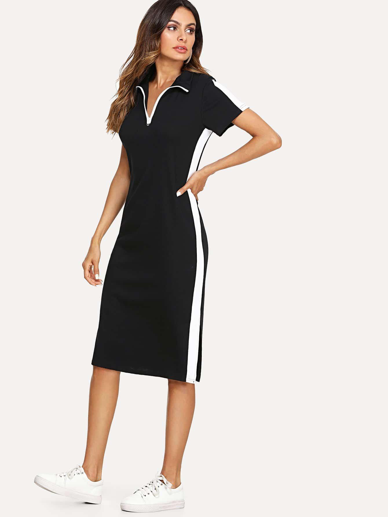 Block Stripe Contrast Zip Front Dress zip front tank dress
