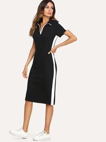 Block Stripe Contrast Zip Front Dress