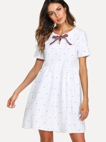 Bow Tie Front Dot Print Dress